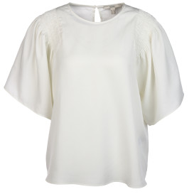 Damen Bluse mit Smokeinsatz