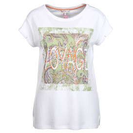 Damen Shirt mit Frontprint, Nieten und Ziersteinchen