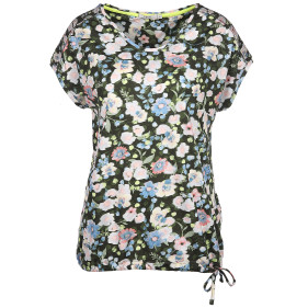 Damen Shirt mit Bindeband im Alloverprint