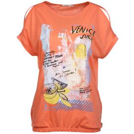 Damen Shirt mit Frontprint und offener Schulter