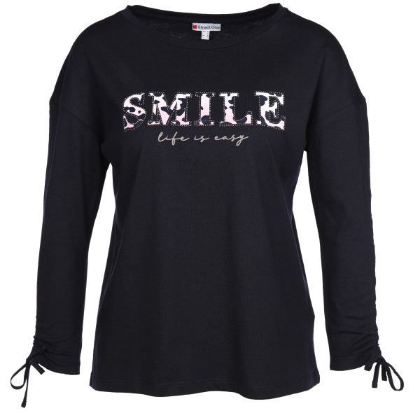 Damen Shirt mit Nieten und Wording-Print