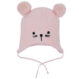 Baby Mütze mit Tiergesichtstickerei und Pompoms