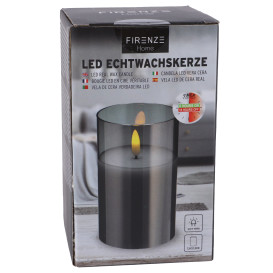 LED Echtwachskerze im Glas
